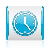 часы-синий и белый квадрат веб глянцевой значок — Стоковое фото