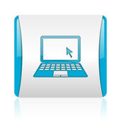 Notebook blue and white square web glossy icon — Stock Photo