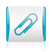 Paper clip blue and white square web glossy icon — Stock Photo