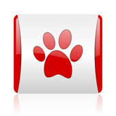 Animal footprint red and white square web glossy icon — Stock Photo