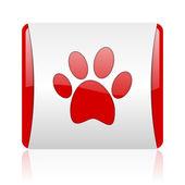 Tier-fußabdruck rot und weiß quadratisch web glossy ii — Stockfoto