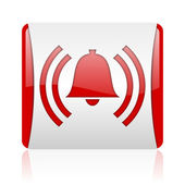 Alarm red and white square web glossy icon — 图库照片