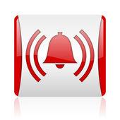 アラームの赤と白の正方形ウェブ光沢のあるアイコン — ストック写真