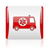 Ambulance red and white square web glossy icon — Stock Photo