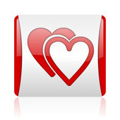 Love red and white square web glossy icon — Stock Photo