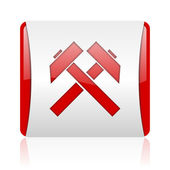 Mining red and white square web glossy icon — Stock Photo
