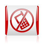 No phones red and white square web glossy icon — Stock Photo