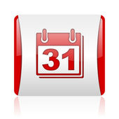 Calendar red and white square web glossy icon — Stock Photo