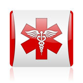Caduceus red and white square web glossy icon — Stock Photo