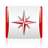 Compass red and white square web glossy icon — Stock Photo