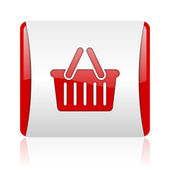 Shopping cart red and white square web glossy icon — Stock Photo