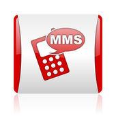 Mms красный и белый квадрат веб глянцевой значок — Стоковое фото