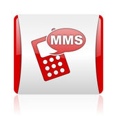 Mms red and white square web glossy icon — Foto Stock