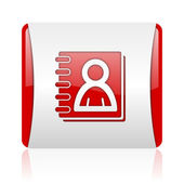 Address book red and white square web glossy icon — Stock Photo