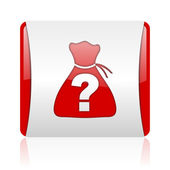 Riddle red and white square web glossy icon — Stock Photo