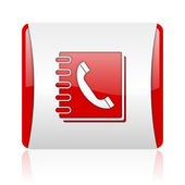 Phonebook red and white square web glossy icon — Stock Photo