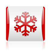 Snowflake red and white square web glossy icon — Stock Photo