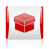 Box red and white square web glossy icon — Stock Photo