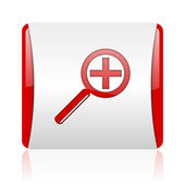 Magnification red and white square web glossy icon — Stock Photo