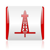 Perforación icono brillante web cuadrado rojo y blanco — Foto de Stock