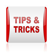 Tips red and white square web glossy icon — Stock Photo