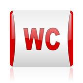 Wc rojo y blanco cuadrado icono brillante web — Foto de Stock