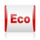 Eco red and white square web glossy icon — Stock Photo
