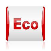 Eko kırmızı ve beyaz parlak web simgesi kare — Stok fotoğraf