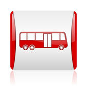 Bus red and white square web glossy icon — Stock Photo