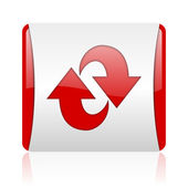 Rotate red and white square web glossy icon — Stock Photo