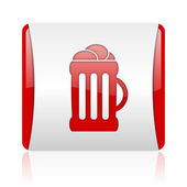Beer red and white square web glossy icon — Stock Photo