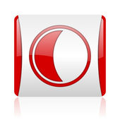 Moon red and white square web glossy icon — Stock Photo