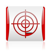 Target red and white square web glossy icon — Stock Photo