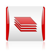 Layers red and white square web glossy icon — Stock Photo