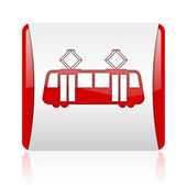 Tram red and white square web glossy icon — Стоковое фото