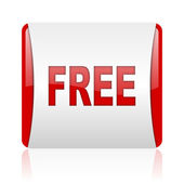 Free red and white square web glossy icon — Stock Photo