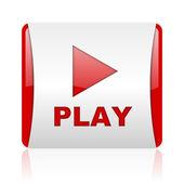Jouer icône glossy web carré rouge et blanc — Photo