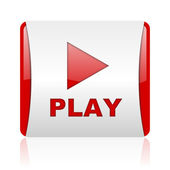 Play red and white square web glossy icon — 图库照片