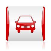 Coche rojo y blanco cuadrado icono brillante web — Foto de Stock