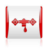 Water red and white square web glossy icon — Stock Photo