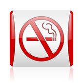 No smoking red and white square web glossy icon — Stock Photo