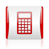 Calculator red and white square web glossy icon — Stock Photo