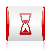 Time red and white square web glossy icon — Stock Photo