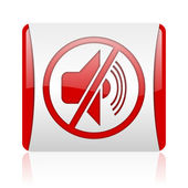 Mute red and white square web glossy icon — Stock Photo