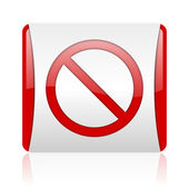 Access denied red and white square web glossy icon — Stock Photo