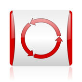 Refresh red and white square web glossy icon — Stockfoto
