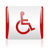 Accessibility red and white square web glossy icon — Stock Photo