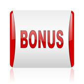 Bonus red and white square web glossy icon — Stock Photo
