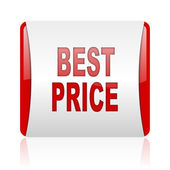 Best price red and white square web glossy icon — Stock Photo