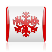 Winter sale red and white square web glossy icon — Stock Photo